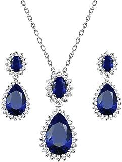 Teardrop Dangle Necklace & Earring Sets for Women Trendy AAA Cubic Zirconia for Women