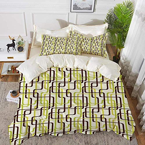 Geometric,Sixties Fashion Inspired Intertwined Lines Stylish Shapes Decorative,Chestnut,Hypoallergenic Microfibre Duvet Cover Set 260 x 220cm with 2 Pillowcase 50 X 80cm