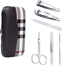 Nail Clippers Leather Case Set, ewinever 1 Set Stainless Steel Manicure Grooming Kit - Fingernail, Toenail Clippers, Nail File, Brow Tweezers, Eyebrow Scissors, Ear Pick