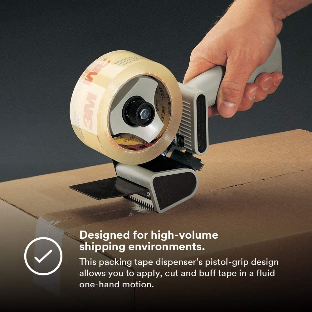 """Scotch - 21200190087 H180 Industrial Packing Tape Dispenser for 2"""" Tape – Lightweight and Portable for Commercial Packaging, Shipping, Moving, Carton and Box Sealing, Gray (19008): Industrial & Scientific"""