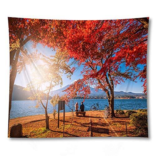 KHKJ Tapiz de Paisaje de montaña Colgante de Pared Toalla de Playa Estera de Yoga Manta de Tela Decoración LargeCarpet A12 95x73cm