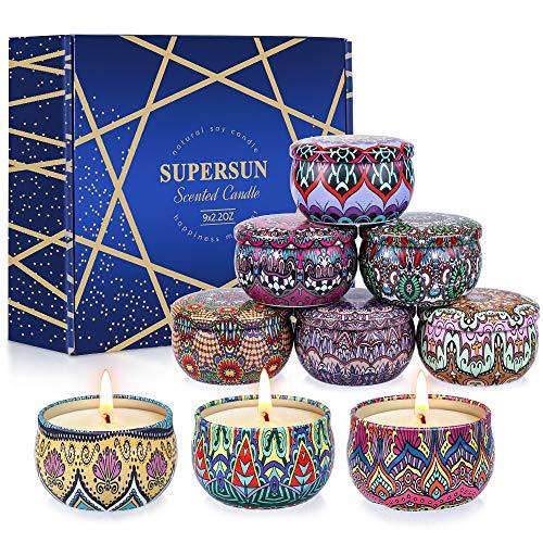 SUPERSUN Velas Aromaticas Perfumadas Regalos para Mujer, 9 X 2.5oz Velas Decorativas 135-180 Horas para Fragancia Casera, Relajación y Alivio De Estrés, Regalos para Mujer, Niña