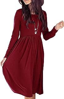 Women's Swing Dresses Midi T Shirt Dress Long Sleeve Casual with Pockets