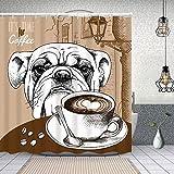 Duschvorhang, Brown Bulldog Cup Kaffee H& Tiere Old Cappuccino Wildlife Food Drink Polyester Wasserabweisend Shower Curtain Anti-Schimmel Duschgardine, für Badewanne & Bathroom 152 cmx183 cm