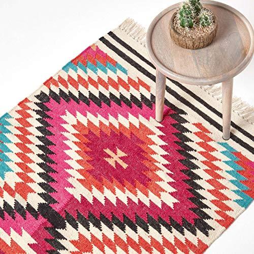 Homescapes Kelim-Teppich/Vorleger Manila, handgewebt aus Wolle/Baumwolle, 90 x 150 cm, bunter...