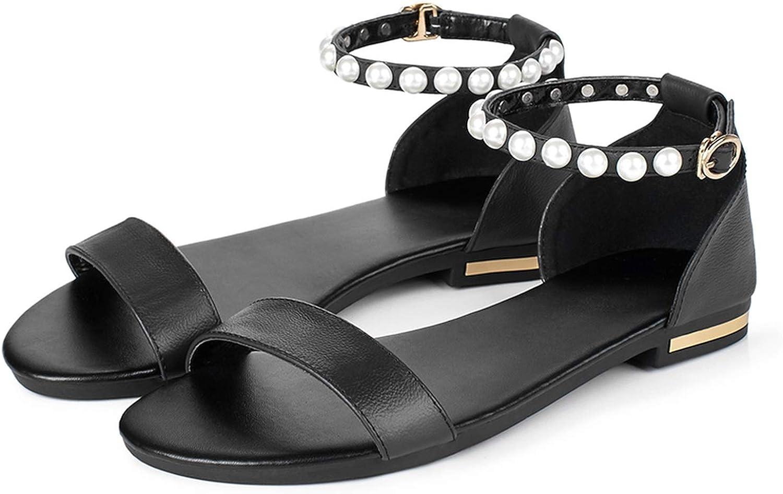 Women Beach shoes Genuine Leather Black Open Toe Sweet Girl String Bead Pearls Sandals
