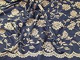Minerva Crafts Denim-Stoff, bestickt, Meterware, goldfarben