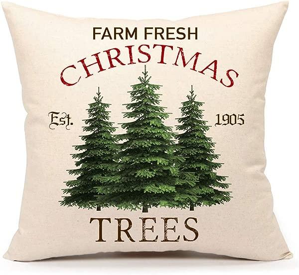 4TH Emotion Farm Fresh Christmas Tree Throw Pillow Cover Farmhouse Green Cushion Case For Sofa Couch 18x18 Inches Cotton Linen