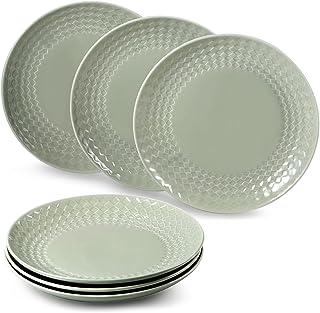 """suntun Assiettes Plates Porcelaine 6 pièces, Gris Vert Assiette à Dîner Services de Table pour 6 Personnes, 10"""" Vintage As..."""
