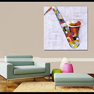 WSNDGWS Orchestral Hand-Painted Saxophone Home Decoration Oil Painting