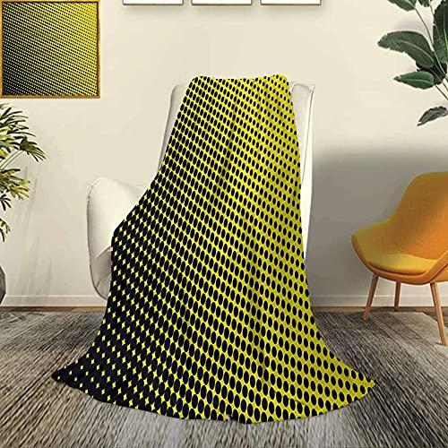 Colcha Amarilla, Moderna y Elegante, para Todas Las Estaciones, futón, patrón Ombre en Fondo Amarillo con Puntos Negros, de Obras de Arte Grandes a pequeñas, sofá Cama de Viaje Duradero, so