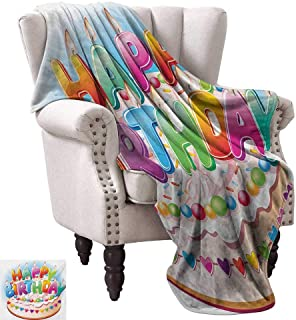 WinfreyDecor Kids Birthday Blanket Sheets Cartoon Style Happy Birthday Party Image Cake Candles Hearts Design Print Ultra Soft and Warm Hypoallergenic 60