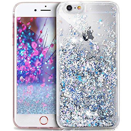 ikasus - Cubierta protectora transparente rellena de líquido, purpurina y brillantes en forma de diamante para iPhone 6S/6 (4,7pulgadas), Silber Diamant Pailletten