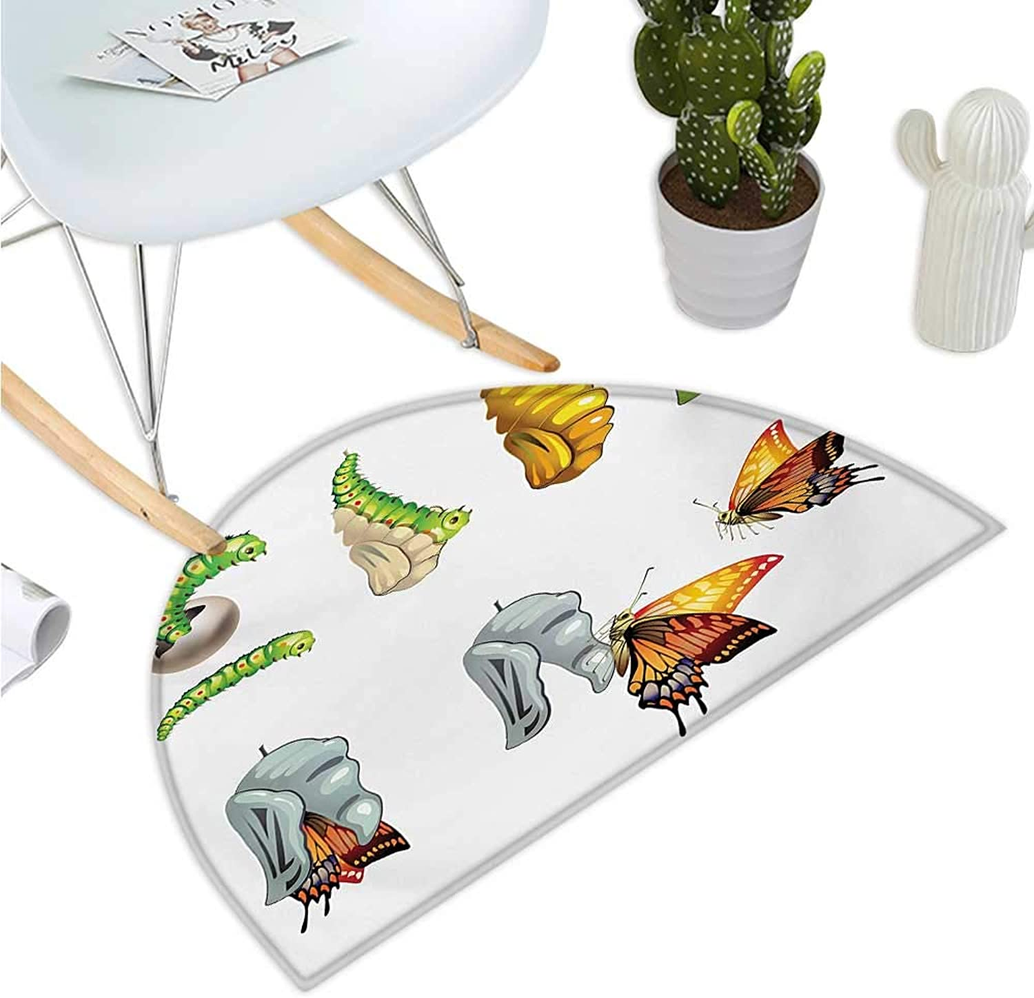 Butterfly Semicircular Cushion Butterfly Stages with The Cocoon Life Cycle Nature Print Artistic Illustration Bathroom Mat H 47.2  xD 70.8  Multicolor