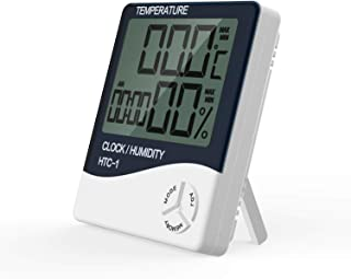 KLOUDIC KD HTC-1 Multifunction Digital Thermometer Humidity Gauge Clock with Big Screen Room Temperature and Humidity Indicator Without Battery