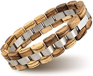 Mens Wooden Bracelet Stylish Wood & Stainless Steel...