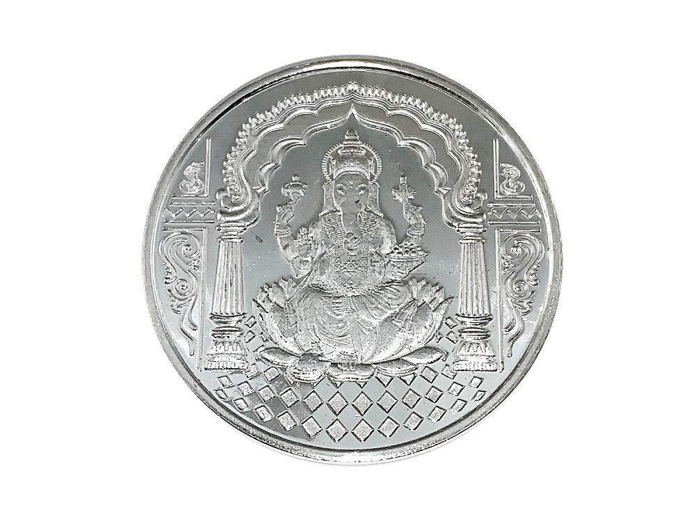Sri Mahalaxmi Ganesh Yantra Prosperity sri Lakshmi Ganesh Coin Silver Plated Coin for Good Luck sri laxmi Ganesh puja Yantra sri Yantra Energized Yantra Gold Polished Alloy Wealth