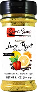 Spain's Spices Gourmet Lemon Pepper Seasoning, Low Sodium, Gluten Free, Sugar Free, No MSG, No GMO, No Preservatives - Lem...