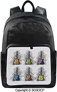 SCOCICI Backpack Lightweight School Bag Sketchy Lined Colored Design Guitar Col