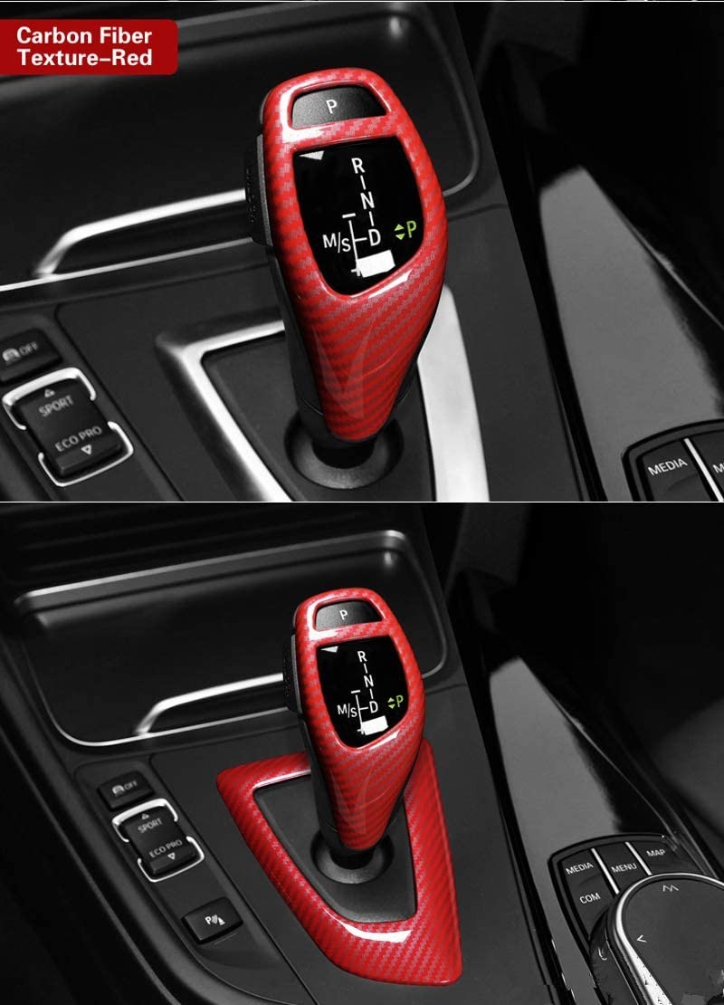 Carbon Fiber Gear Shift Panel Frame Cover Trim Center Console Gear Head Knob Overlay for BMW 1 2 er 3 4 Series F20 F21 F22 F23 F30 F30 F31 F32 F33 F34 F35 F36 ABS