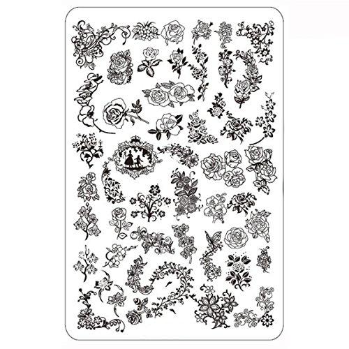 XXL Blume Stamping Schablone Frühling Rose Platte #4