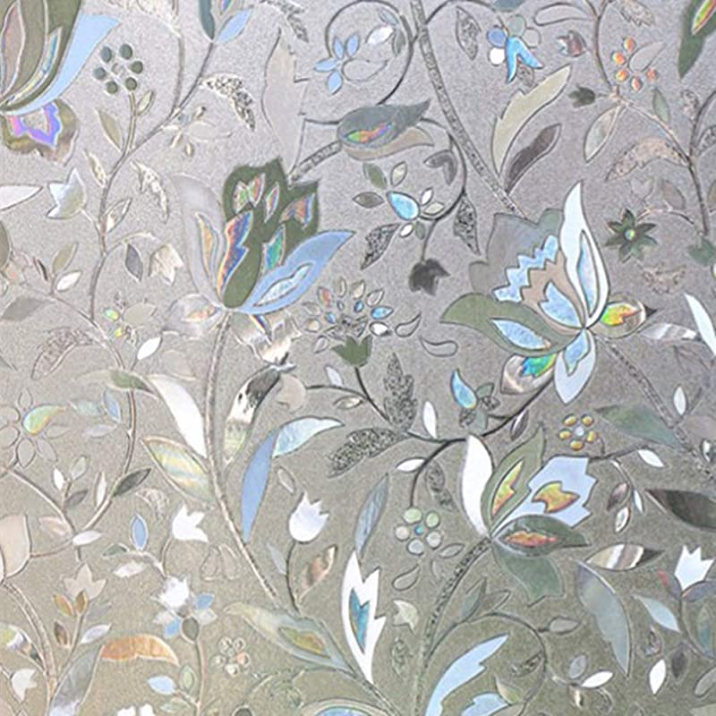 Flytianmy 3D No Glue Static Decorative Privacy Floral Pattern Window Films Uv Prevention Easy Removal 23 6 X 78 7