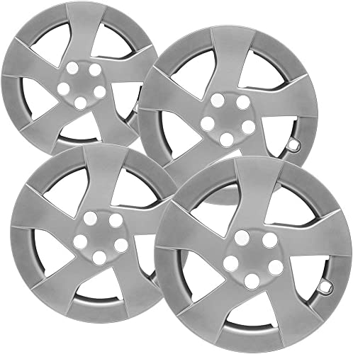 discount OxGord 15 inch Hubcaps Best for 10-11 discount Toyota Prius - (Set of 4) Wheel Covers 15in Hub Caps Silver Rim Cover - Car Accessories for 15 inch Wheels - Bolt On Hubcap, outlet online sale Auto Tire Replacement Exterior Cap online