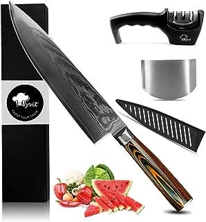 MYVIT Chef's Knife Damascus Kitchen Knife Slicing Carving Knife Japanese Steel 8 inch Cooking Sushi Sashimi Knives Professional [Knife Sharpener Finger Guard Knife Sheath]