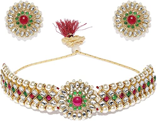 Gold Tone Enchanting Kundan Pearls Choker Jewellery Set For Women ZPFK9362
