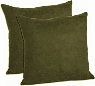 MoonRest Pack of 2- Suede Square Decorative Throw Pillow Covers Sofa sham Solid Colors Couch Cushion Pillowcases (20 x 20 Olive)