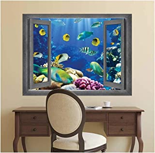 wall26 - Open Window Creative Wall Decor - Underwater World - Wall Mural, Removable Sticker, Home Decor - 36x48 inches