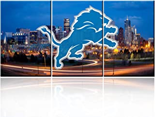 """TUMOVO Colorful Decor American Football Pictures for Living Room Detroit Lions Logo Paintings Giclee 3 Piece Canvas Wall Art HD Prints Retro Building Artwork Framed Stretched Ready to Hang(48""""WX24""""H)"""