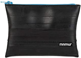 MNMUR - Portamonete nero e blu in camera d'aria riciclata fatto a mano. CM 13 x 9