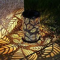 Solar light Iron Arts Leaves Projection LED Solar Lamp Garden Decor Waterproof Outdoor Pathway Landscape Lighting Hanging Pendant Lantern