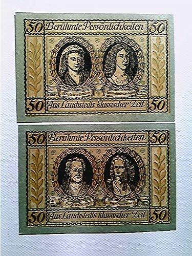 Notgeld, Stadt Lauchstedt, 2x 50 Pfennig, 1921