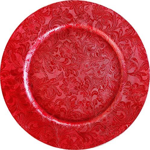 Nataluna Bajo Plato Decorativo de Polipropileno Redondo Ø Aprox. 33 Cm Ideal para la decoración de Tus cenas en Eventos Especiales. Elige Entre Nuestra Variedad de Estilos y cantidades (Rojo)