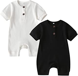 Sponsored Ad - RELABTABY Newborn Baby Boy Girl 2 Pack Romper Unisex Infants Summer Solid Button Onesie Jumpsuit Outfits Cl...