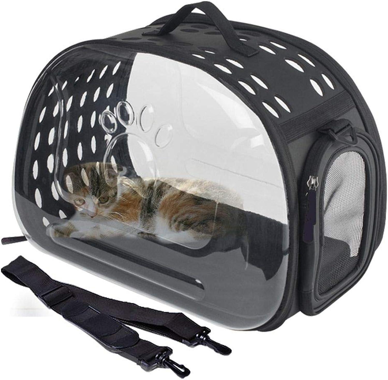 WEAO Transparent Space Bag Pet Bag Portable Travel Pet Carrier Backpack Waterproof Handbag for Cat and Small Dog Ventilated Design, Black