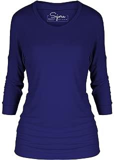 3/4 Sleeve Dolman Tunic Top – Crew Neck Long Shirt – Many Colors & Sizes