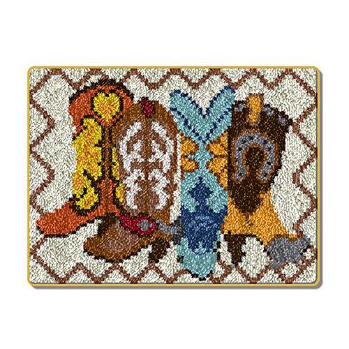 TrusMe Knüpfteppich Mongolische Stiefel Häkeln Teppich Teppich Garn Sofakissen Mat DIY Teppich Teppich Wohnkultur Kunst & Handwerk, 20.5X15 Inch