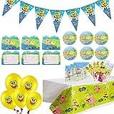 Herber Set de suministros para fiesta de Bob Esponja con diseño de Bob Esponja para decoración de cumpleaños, incluye globos de vajilla para fiestas de Bob Esponja