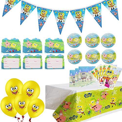 Juego de suministros para fiestas temáticas de Bob Esponja Paquete de suministros para decoración de cumpleaños de Bob Esponja que incluye pancarta de globos para celebración de fiestas infantiles