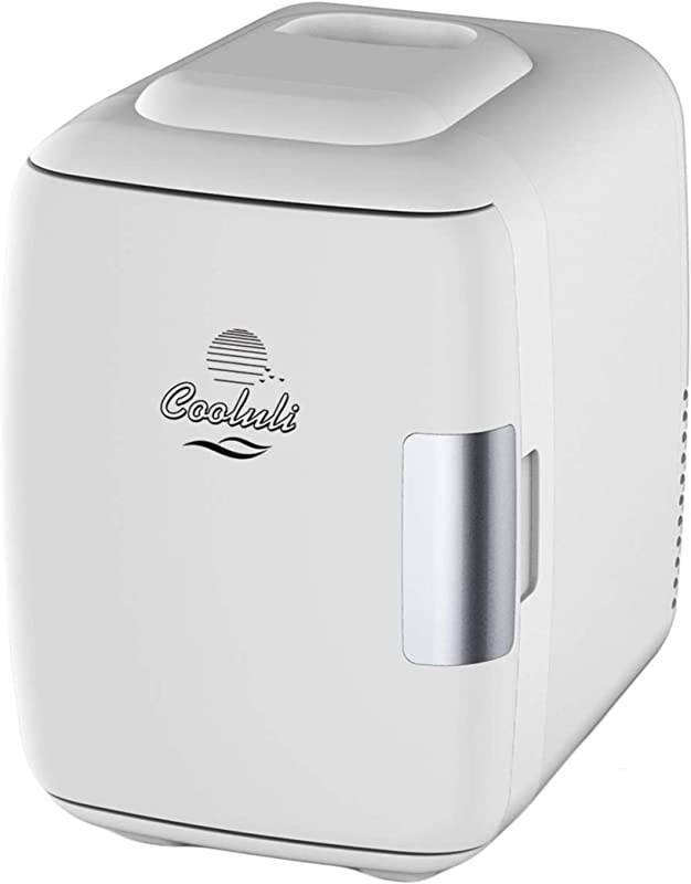 Cooluli Mini Fridge Electric Cooler And Warmer 4 Liter 6 Can AC DC Portable Thermoelectric System W Exclusive On The Go USB Power Bank Option White