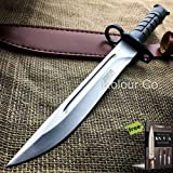 14' Military Survival Rambo Fixed Blade Hunting Carbon Steel Razor Sharp Blade Knife Bayonet Tactical Bowie + Free eBook by SURVIVAL STEEL