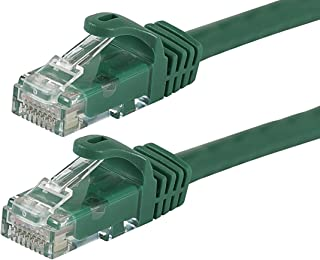 Monoprice Flexboot Cat6 Ethernet Patch Cable - Network Internet Cord - RJ45, Stranded, 550Mhz, UTP, Pure Bare Copper Wire, 24AWG, 30ft, Green