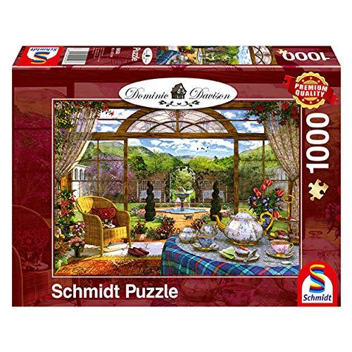 Schmidt Spiele Puzzle 59593 Dominic Davison, Blick aus dem Wintergarten, 1000 Teile