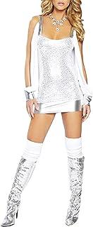 Toocool - Vestito Donna Top Miniabito Maniche Aperte Argento Discoteca DL-402 [Taglia Unica,Bianco]