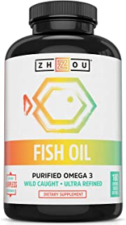 Zhou Nutrition Fish Oil - Max Strength Omega 3 Fatty Acids with EPA and DHA from Purified, Sustainably-Sourced Fish Oil- H...