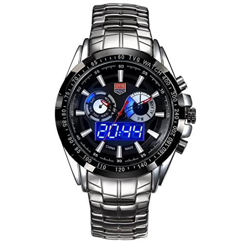 Amazing Cool Men Military Sport Waterproof Male Full Steel LED Digital Quartz Dual time Gift Watch