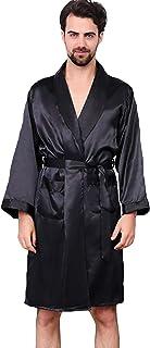 55ab4b4682 Haseil Men s Satin Kimono Robe Spring Summer Shawl Collar Sleepwear Classic Silk  Bathrobes